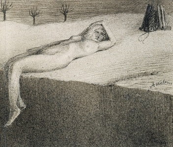 Reclining Nude by a Cliff