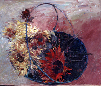 Double Basket No. 3: Chrysanthemums and Red Sun Flowers