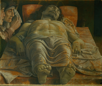 "Dead Christ (""the foreshortened Christ""), mourned by the Virgin, a pious woman and Saint John Apostle"