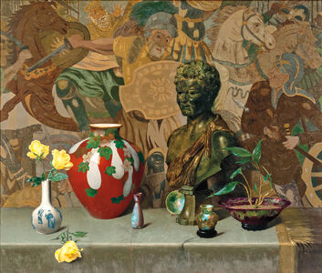 Still Life with Objets d'Art and Yellow Roses