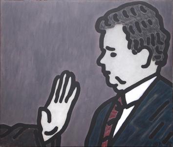 Portrait von Kurt Biedenkopf mit der Hand von F.J Strauss