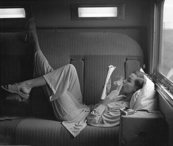 Southwest Passage - Sunset Pink: Model in pajamas by Kickernick, Harper's Bazaar