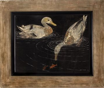 Lacquered Panel Depicting Ducks
