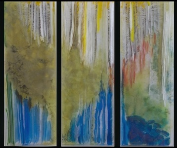 River Dance (Multi-Colored Glass Panel Triptych) (measurements and pricing provided are for all three panels)