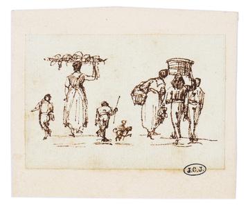 Petites études de personnages sur un marché romain