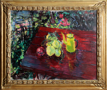Fruit in Yellow Bowl on Red Table