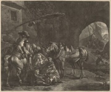 Mother with Two Children  and a Horse in Front of an Inn