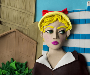 Original photograph: Untitled film still #21, 1978 by Cindy Sherman rendered in Play-Doh