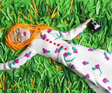 Original photograph: Untitled, 1975 by William Eggleston rendered in Play-Doh
