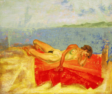 Red Blanket with Beach