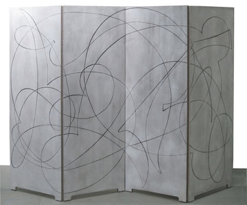 A double-sided folding screen in four panels