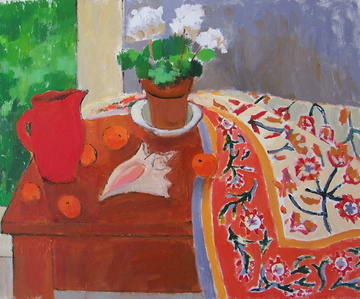 Red Pitcher with Oranges