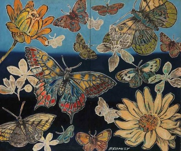Butterflies and Flowers (Diptych)