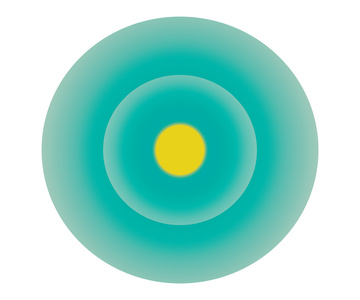 Turquoise Green Circle with Yellow Centre