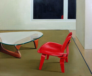 The Red Chair and the Glass Coffee Table