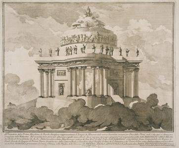 Prospettiva della prima macchina de fuochi d'artificio rappresentante il tempio di Minerva ...