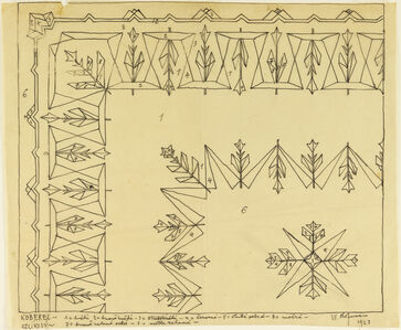 Design for Embroidered (Lace?) Tablecloth with Stylized Tulip (?) Motif