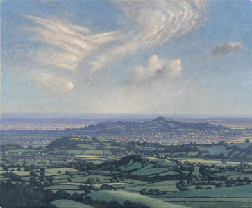 Half Moon and Cirrus Clouds over Glastonbury Tor