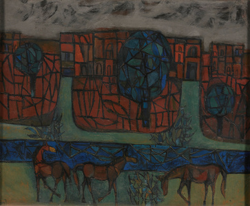 Untitled (Scene with horses)