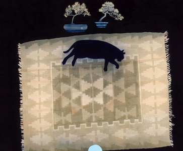 Cat on Rug with Bonsai