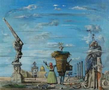 Vue imaginaire de Rome aved l'obelisque de Lorenzo Bernini