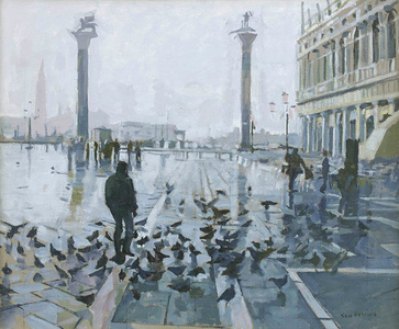 Rain in the Piazetta, Venice