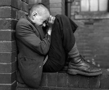 Youth on Wall, Jarrow, Tyneside, UK