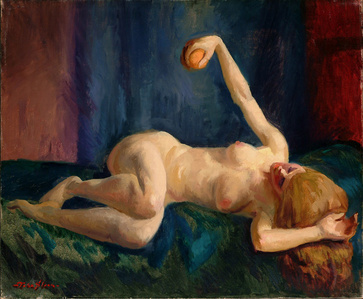 Blonde Nude with Orange, Blue Couch