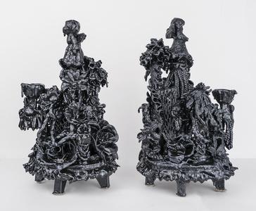 Pair of Candelabras (Black Rococo)