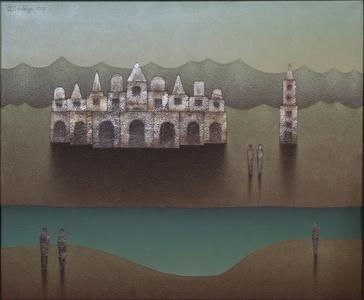 Paisaje diurno rio y templo