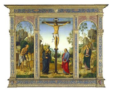 The Crucifixion with the Virgin, Saint John, Saint Jerome, and Saint Mary Magdalene [left panel]