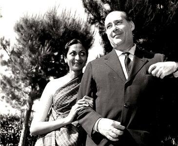 Roberto Rossellini with his indian wife Sonali Dasguta