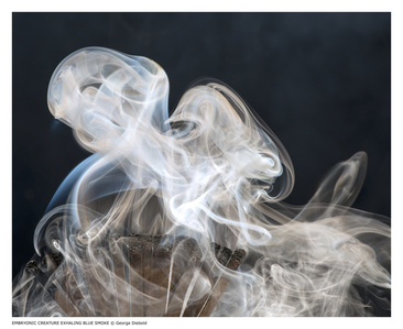 Embryonic Creature Exhaling Blue Smoke