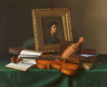 Still Life with Portrait by Raphael