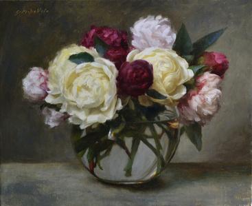 White, Pink & Magenta Peonies in Globe Vase