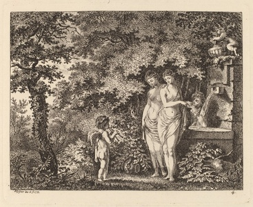 Eros with Three Girls at a Fountain