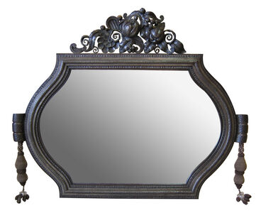 Mirror with wrought-iron frame