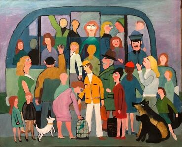 German Outsider Folk Art Large Oil Painting People Boarding the Bus