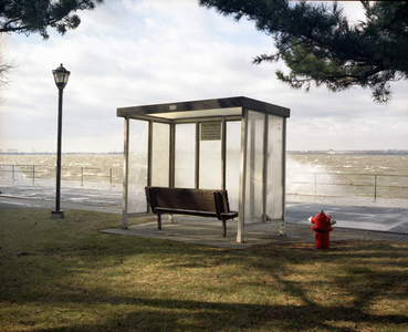 Bus Stop with Sea Spray, Governor's Island, NY