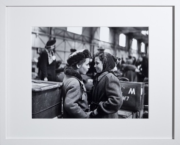 "Displaced Persons, ""two girls between luggage"""