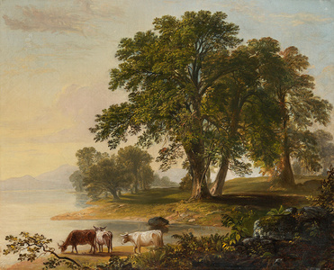 Pastoral Scene at Lake's Edge