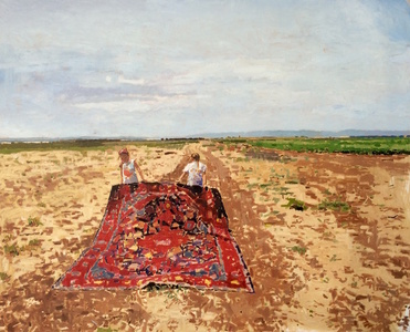 Two Girls Holding Carpet