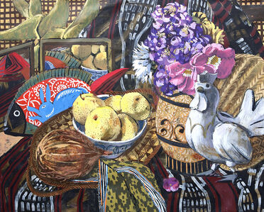Still-life with Rooster, Asian Pears, and Fish