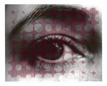 Untitled sewn photograph (eye/circles)