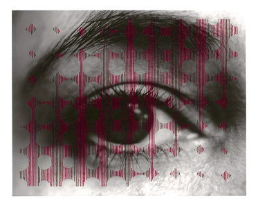 Untitled sewn photograph (eye/circles)