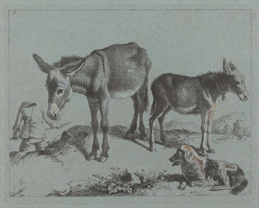 Donkey with her Foal, a Dog, and a Peasant Man