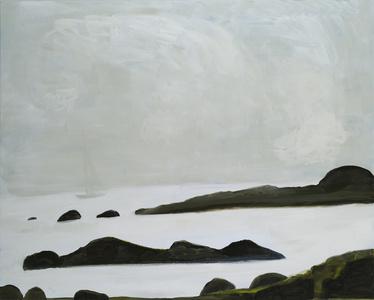 Sky, Sailboat, Rocks and Sea