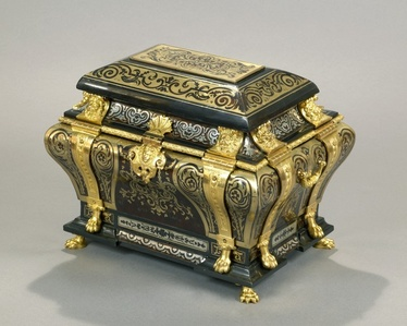 An exceptional Louis XIV Boulle marquetry combination casket with chased, pierced and giltbronze mounts