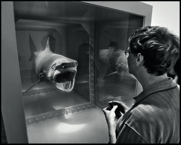 Bill Gates with Damien Hirst's shark, Metropolitan Museum of Art, New York City, USA, 2007