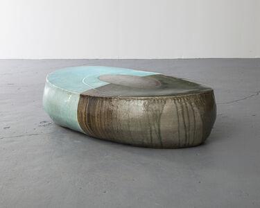 Ceramic Stool in Traditional Grayish-Blue-Powdered Celadon Glaze